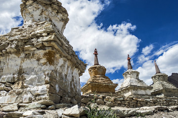 Weathered Buddhist stupas (chorten) at Neyrak village, Zenskar, Ladakh Region, Jammu and Kashmir, India