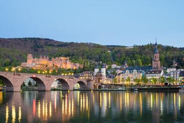 Alte Brucke (old bridge) over Neckar River, Heidelberg Castle and buildings in Altstadt (old town), Heidelberg, Baden-Wurttemberg, Germany