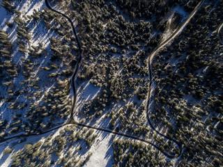 Aerial view of winter landscape in Jura mountains, Gingins, Switzerland