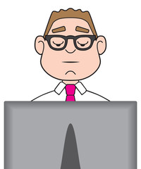 A cartoon businessman is diligently working on his computer