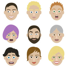 Emotions faces characters. Vector Illustration trendy flat design for web and printed materials.
