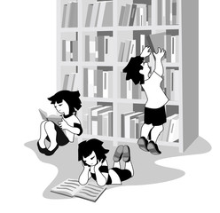 Vector illustration of happy children reading books in bookshop or library.