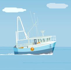 Peschereccio nel mare, barca tra le onde