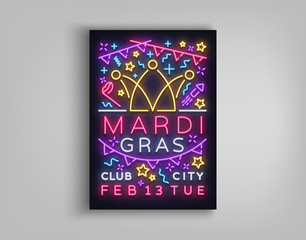 Mardi Gras invitation template design. Neon-style poster, neon sign, bright brochure, luminous banner, night flyer, invitation leaflet on Fat Tuesday. Carnival, Masquerade. Vector illustration