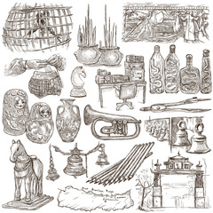 Bric a brac, objects - an hand drawn pack. Freehand sketching, full sized hand drawn illustrations.