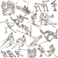 Winter Sport. An hand drawn full sized pack. Hand drawing on white. Line Art
