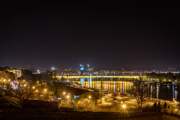 Belgrade, Serbia March 30, 2017: Night panorama of Belgrade
