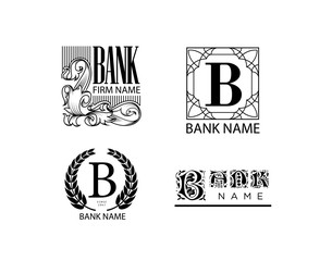 Bank and finance logo collection in vintage style.
