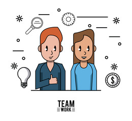 Young business teamwork icon vector illustration graphic design