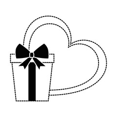 gift box present with heart vector illustration design
