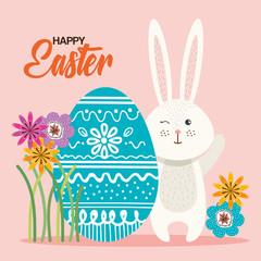 eggs paint and flowers easter season vector illustration design