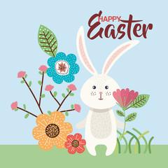 flowers happy easter and rabbit season vector illustration design
