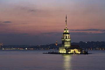 Maiden Tower (Tower of Leandros, Turkish: Kiz Kulesi) tranquil scenery at the entrance to Bosporus Strait in Istanbul, Turkey (KIZ KULESI – SALACAK-USKUDAR)