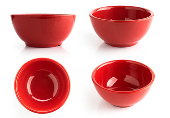 red bowl isolated on white