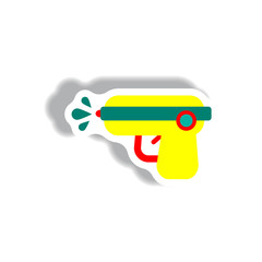 stylish icon in paper sticker style water gun
