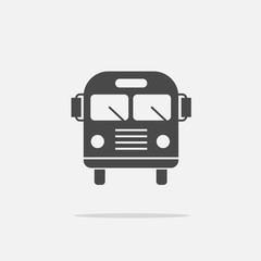 Bus vector icon for public transport school bus with flat shadow