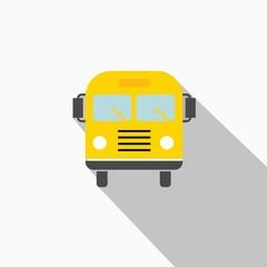 School Bus vector icon with flat shadow
