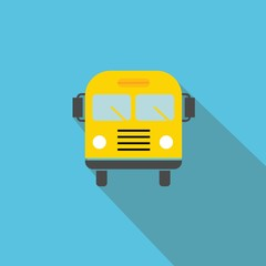 School Bus vector icon blue background flat shadow
