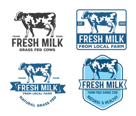 vintage vector design of label, badge, logo, dairy farm, fresh milk grass fed cows, natural farm