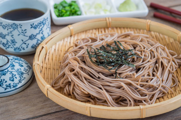 Soba noodles on bamboo plate, Japanese food