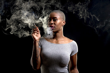 african female smoking