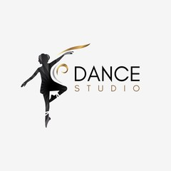 Ballet Dance Studio Logo template element symbol with luxury gradient color