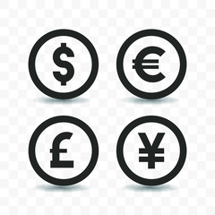 Set of currency icon Dollar, Euro, Pound sterling and Yen on transparent background.