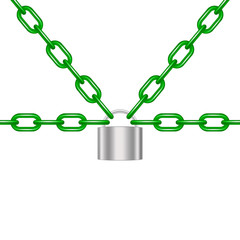 Green chains locked by padlock in silver design