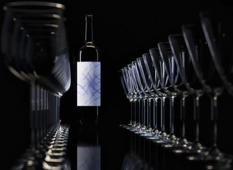 3D rendering. Wine glasses and bottle on black.