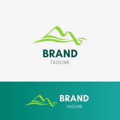Mountain Flow Logo template element symbol in nature color