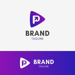 Letter P Arrow Logo template element symbol in vibrant color