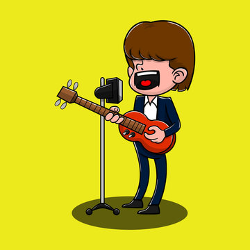 Singer sing a song with electric guitars cartoon vector
