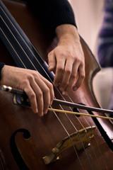 Hands of a musician playing on a contrabass closeup