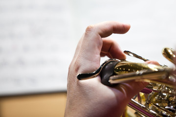 Fingers of a musician playing the French horn closeup
