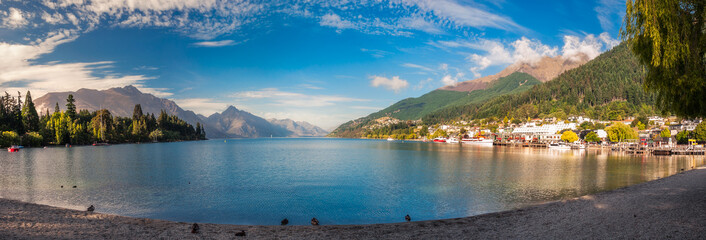 Queenstown Bay Panorama, New Zealand.