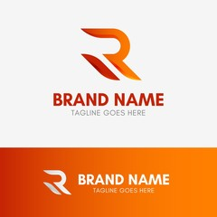 Letter R Shape Logo template element symbol in orange gradient color
