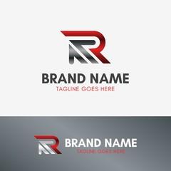Letter R Up Arrow Logo template element symbol in metal color