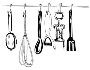 Hand drawn black and white ink illustration of kitchen tools
