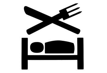Essbesteck und Bett Symbole