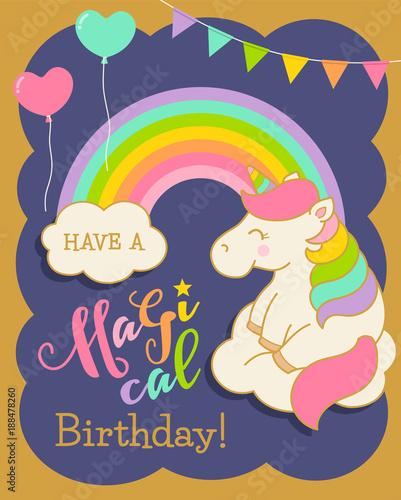 Cute Unicorn Illustration For Birthday Card Design Template Stock