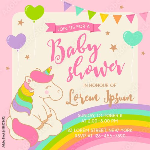 Cute Unicorn Illustration For Baby Shower Invitation Card Template