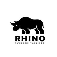 Rhino Logo vector, Rhinoceros logo monochrome color Business template, Rhinos logo for sport club or team. Animal mascot logotype. Template. Vector illustration.
