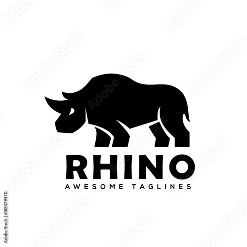 Rhino Logo vector, Rhinoceros logo monochrome color Business ...