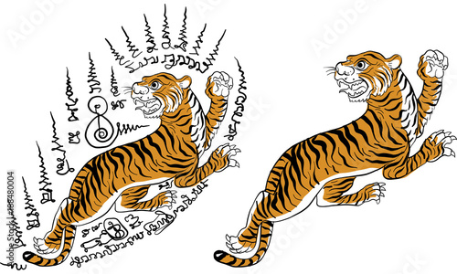 d44adcff3 tiger Thai traditional tattoo vector