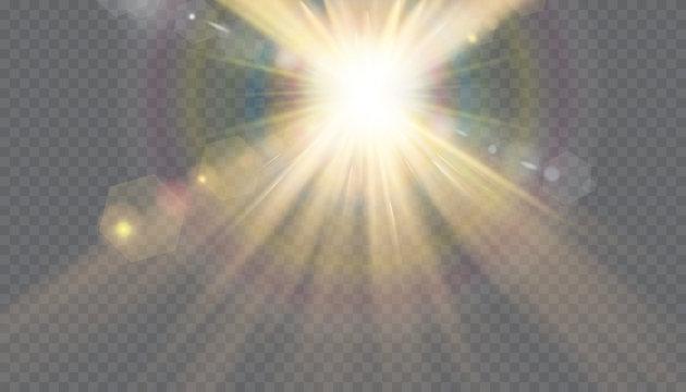 transparent sunlight special lens flash light effect.front sun lens flash