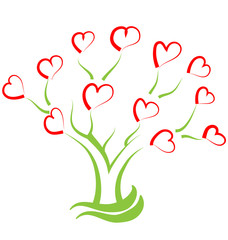 Tree filled with hearts, creative vector