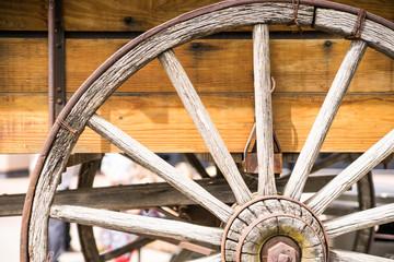 Wooden Wagon Wheel with Spider Cobweb