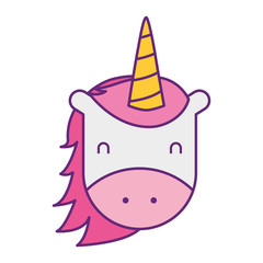 unicorn horned animal fantasy magic vector illustration