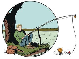 Funny fisherman with fishing rod. Stock illustration.
