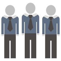 Figures in suit with tie. Vector icon. Silhouette of men. Front view. Single object. Simple illustration. Festive suit.